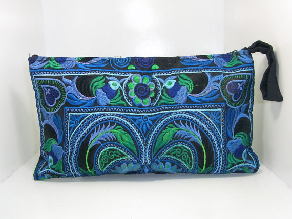 Sky Blue Wristlet Clutch HMONG Embroidered Bag Hippie Boho Handmade Thailand