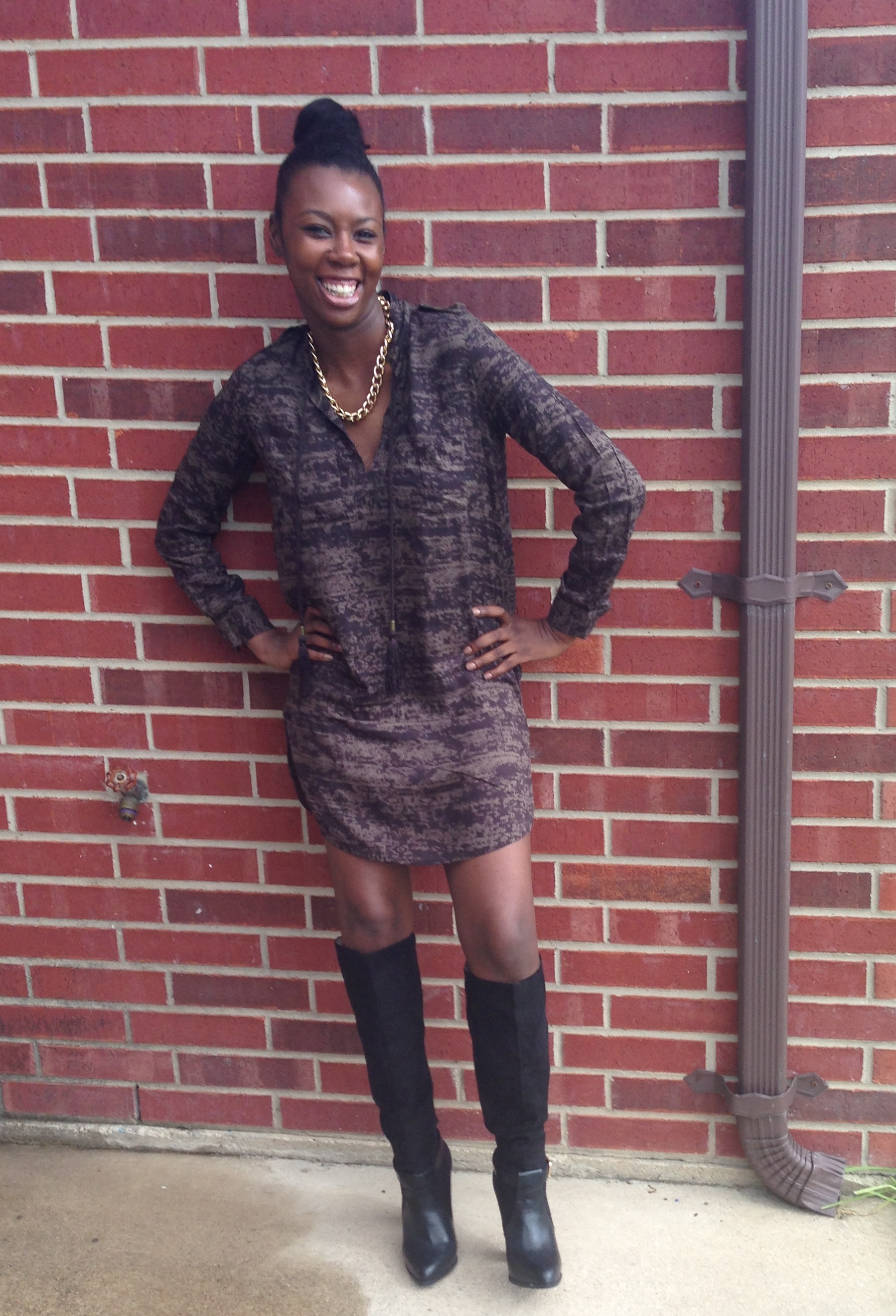 Tasha in HM Dress, T+J Designs necklace and Zara Boots