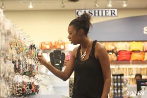 Tasha shopping at Sam Moon