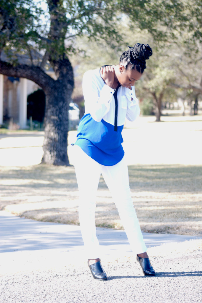 Tasha in Decree Blouse, Mango Jeans, and Zara Booties. #boxbraids #bizblogger