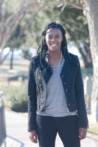 Tasha in Guess Moto Jacket, Elie Tahari Top, H&M Jeans and Bakers Boots. #bizblogger #boxbraids #killeen #style