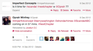 Oprah Tweets Imperfect Concepts