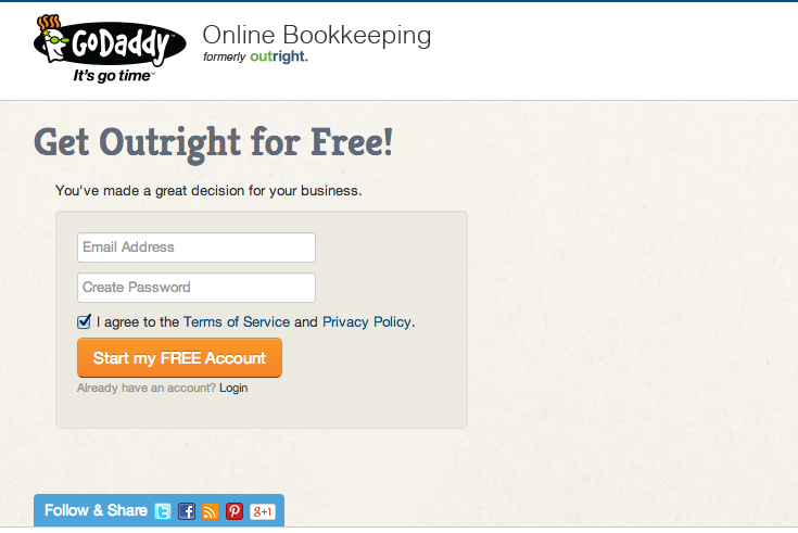 Outright bookkeeping signup for your small business