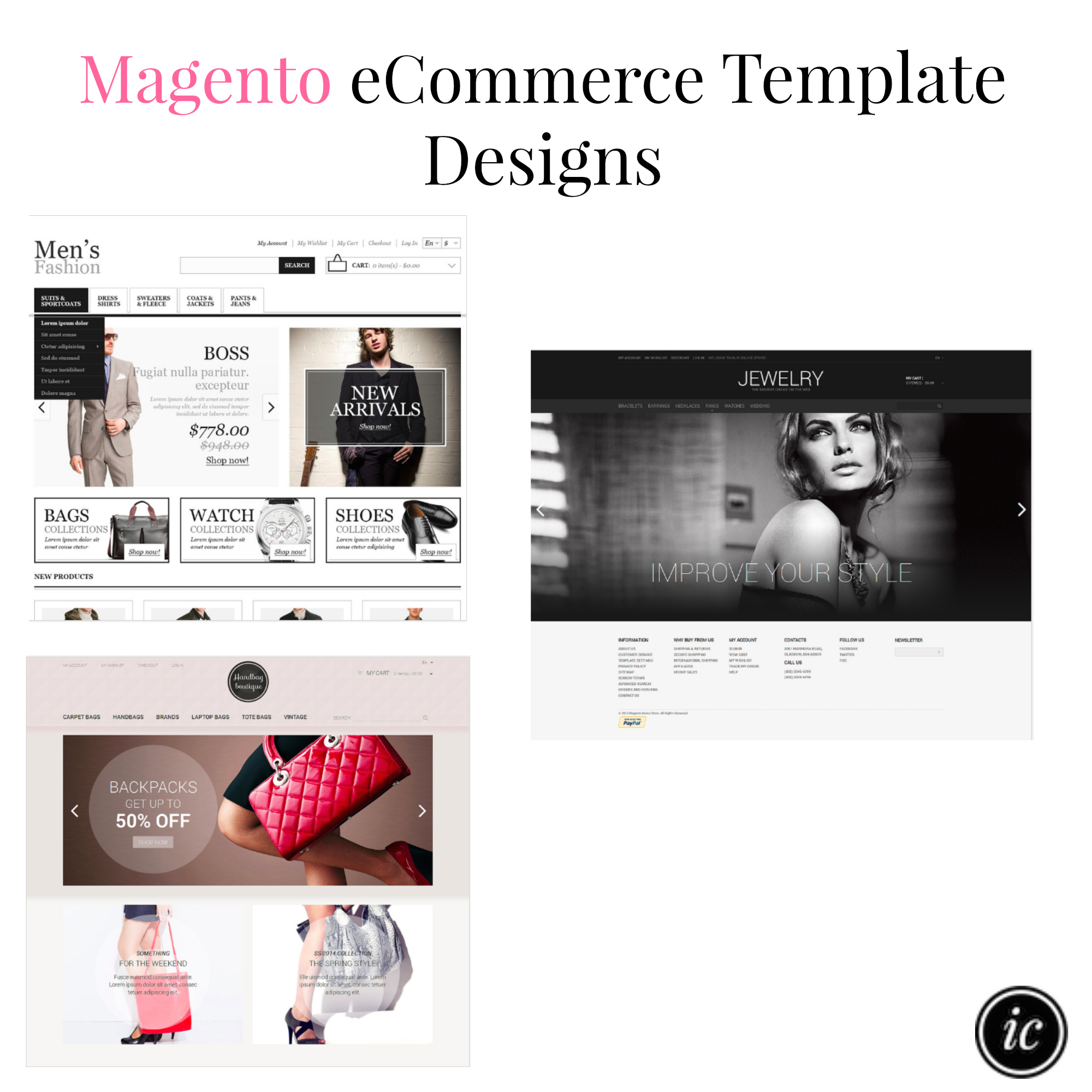 Ecommerce website template designs imperfect concepts for Magento homepage template