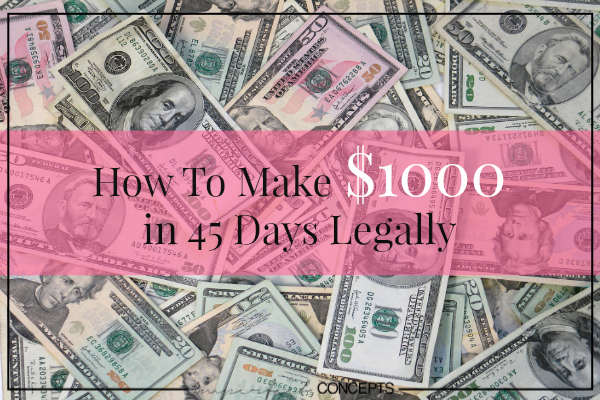 How To Make $1000 in 45 Days Legally