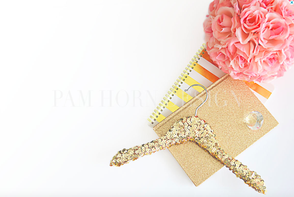 Gold Sequin Notebook Styled Stock Photography