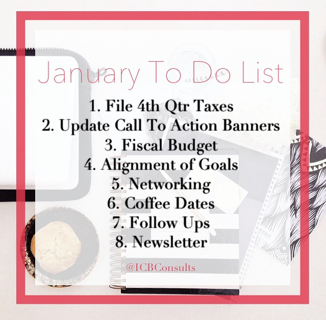 January To Do List ICBConsults