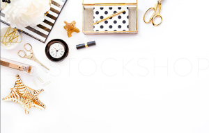 White Black Gold Desk Styled Stock Photography