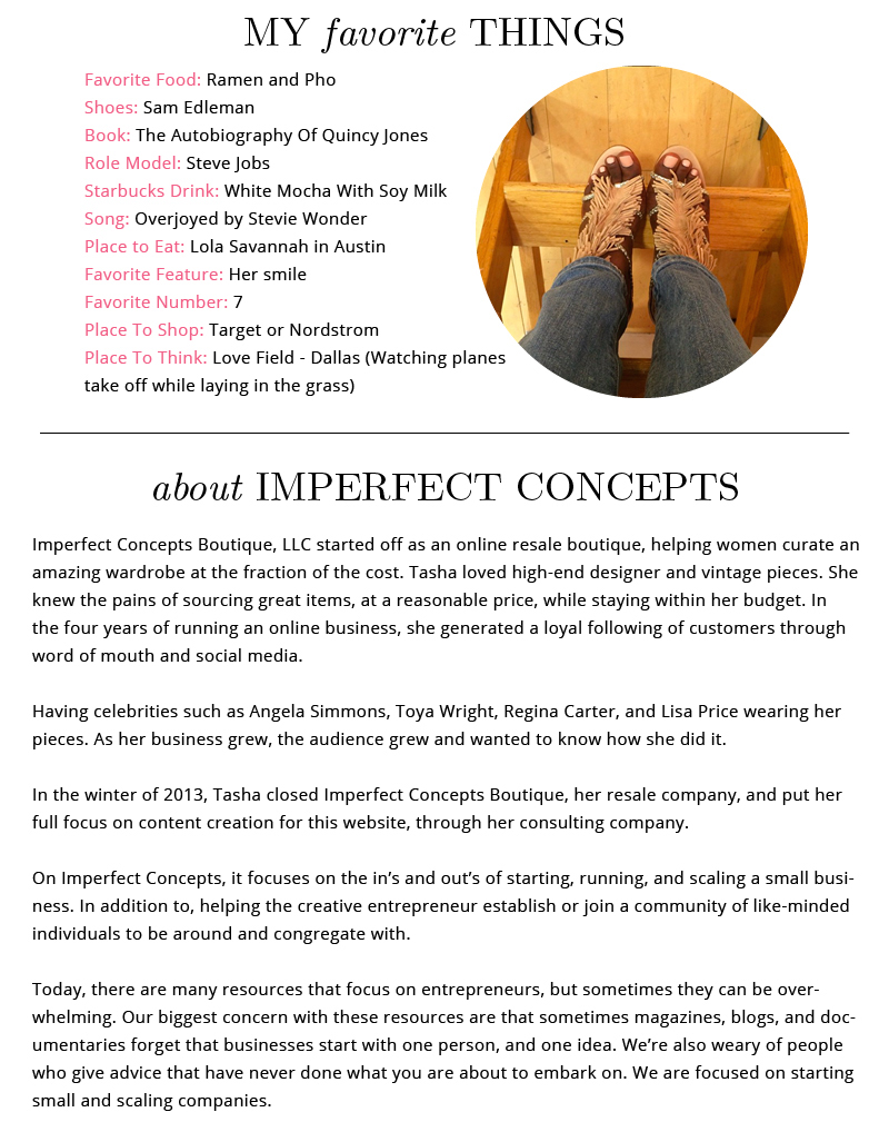 Creative About Page for Imperfect Concepts
