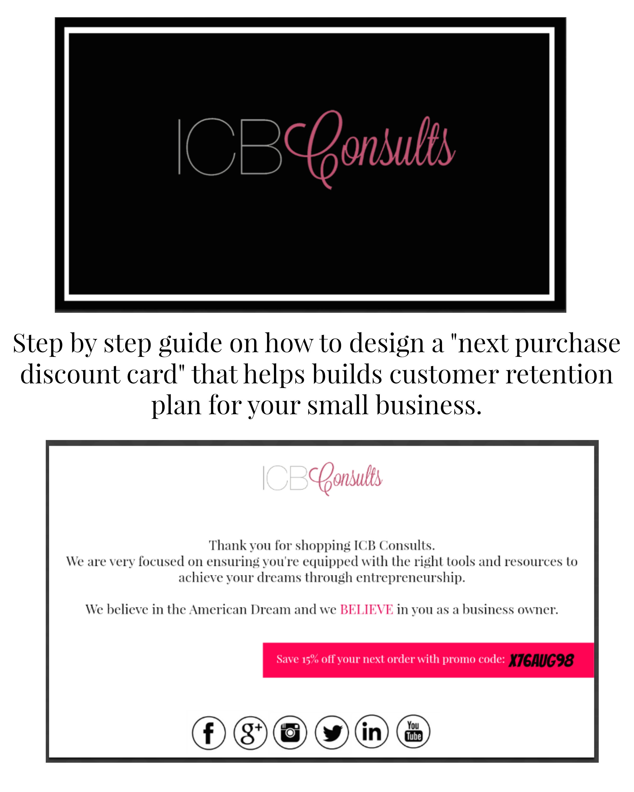 "design a ""next purchase discount card"" to establish a customer"