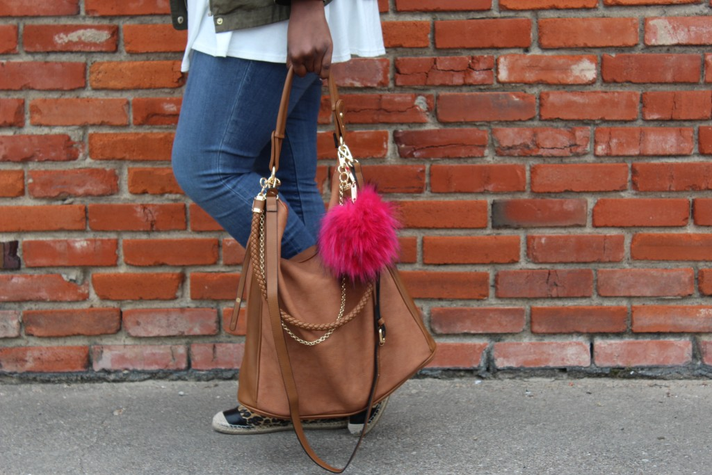 Sam Moon top handle bag with faux fur pouf | Imperfect Concepts