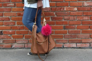 Sam Moon top handle bag with faux fur pouf | Imperfect Concepts