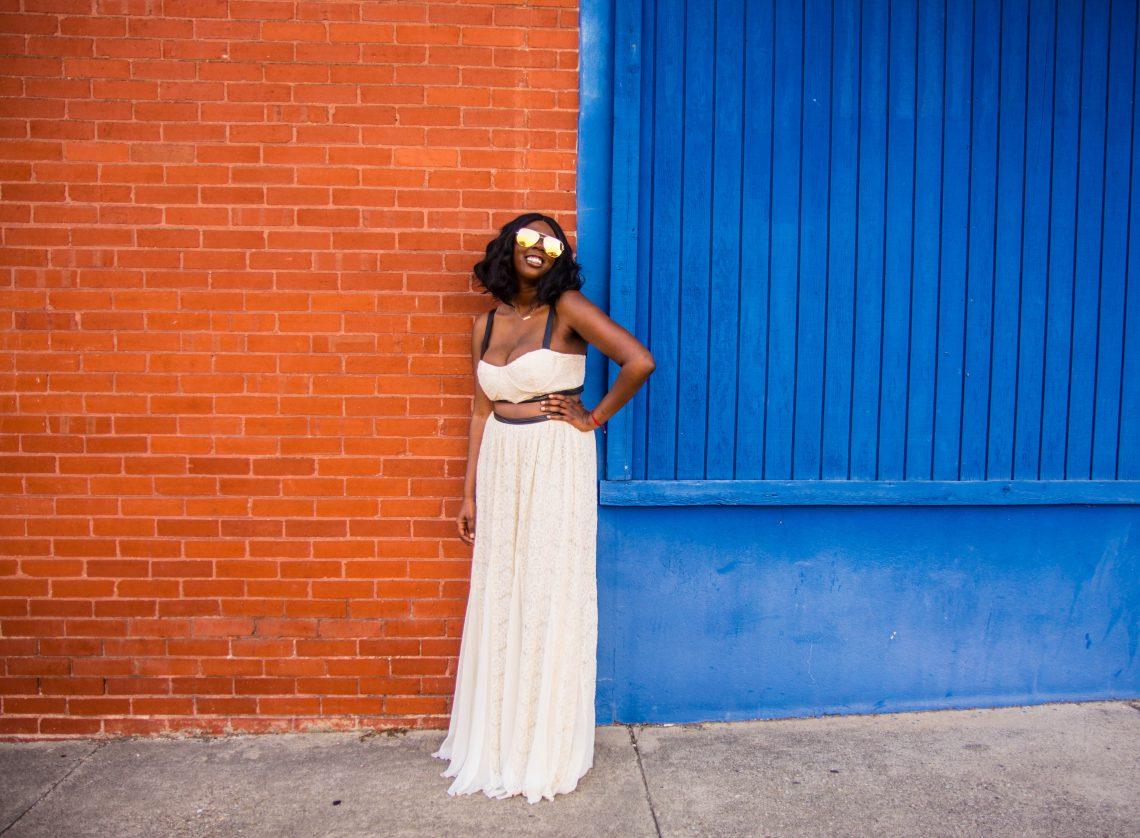 Tasha Robinson Imperfect Concepts Dress: Alice + Olivia Sunglasses: Quay Austrialia Necklace: Letters By Zoe Mini Bar Bracelet: Letters By Zoe Engraved Disc Fortune
